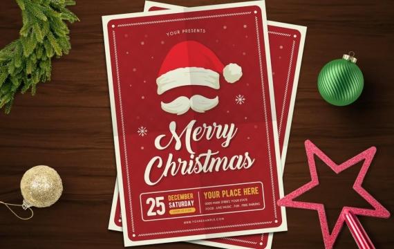 红色圣诞节海报传单模板