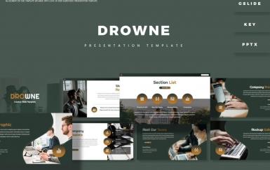 Drowne-黑色团队介绍PowerPoint模板
