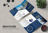 蓝色商务公司三折页设计模板
