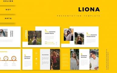 Liona-黄色商务团队介绍PowerPoint模板