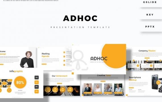 Adhoc-演示橙色国外商务风格PPT模板