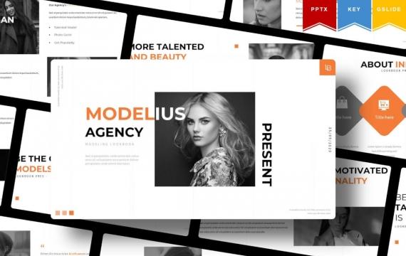 Modelius | 时尚简约服装展示相册PPT模板