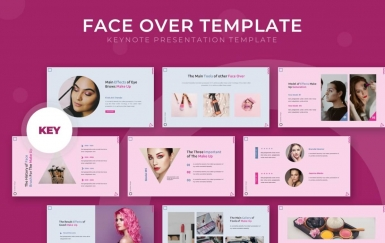 Faceover-粉色主题演讲keynote模板