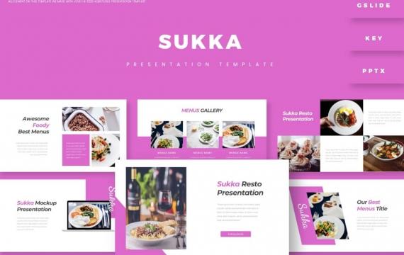 Sukka-演示紫色美食PowerPoint模板