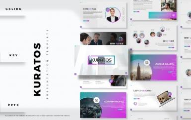 Kuratos-简约紫色渐变商务风商业计划书PowerPoint模板