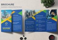 蓝色商务金融三折页设计模板