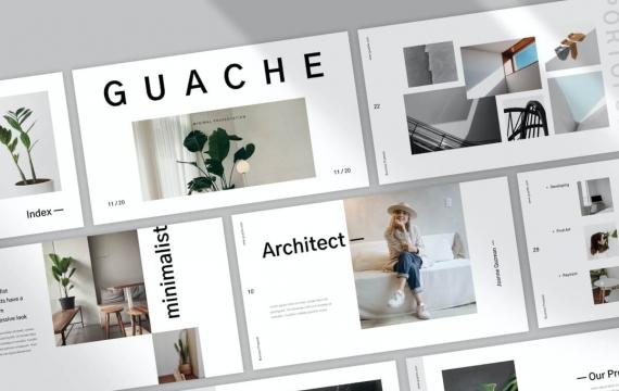 Guache 极简主义Powerpoint模板