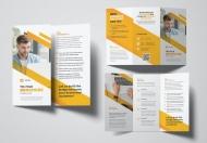 黄色简约企业简介三折页设计模板