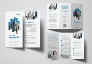 蓝色简约企业简介三折页设计模板