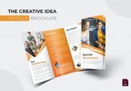 商务风格橙色公司宣传三折页设计模板