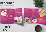 粉色美容院水疗SPA养生宣传三折页设计模板