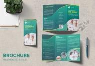 药房保健医疗企业宣传三折页模板