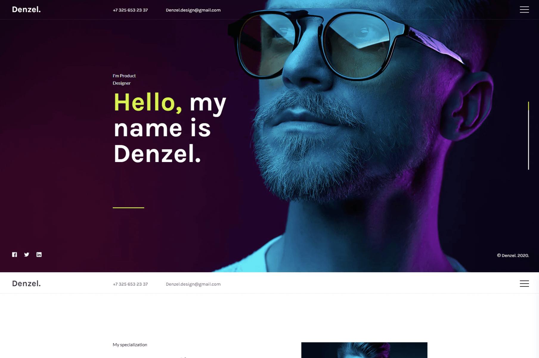 丹泽尔。-单页个人HTML模板