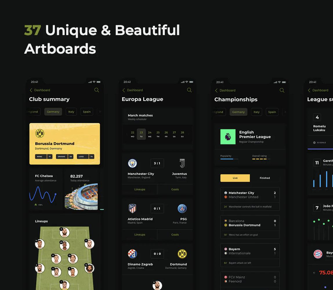 足球移动应用–黑暗用户ui界面设计