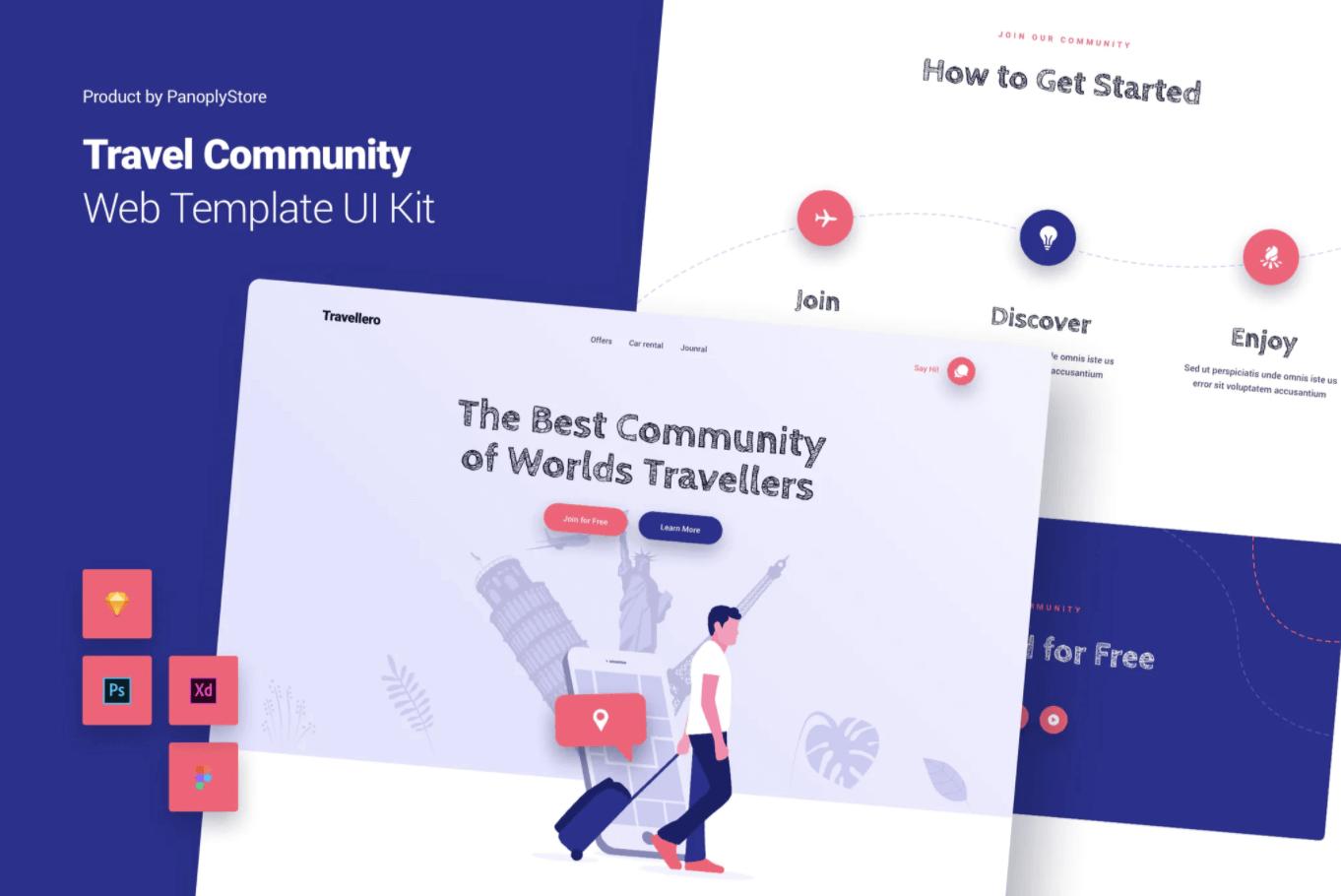 旅游社区Web模板主题UI套件