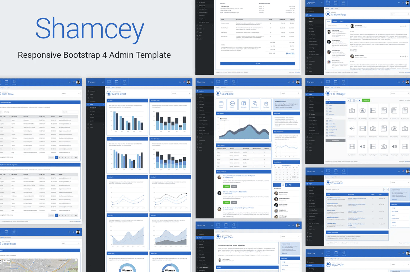 Shamcey Metro Style Bootstrap 4管理模板