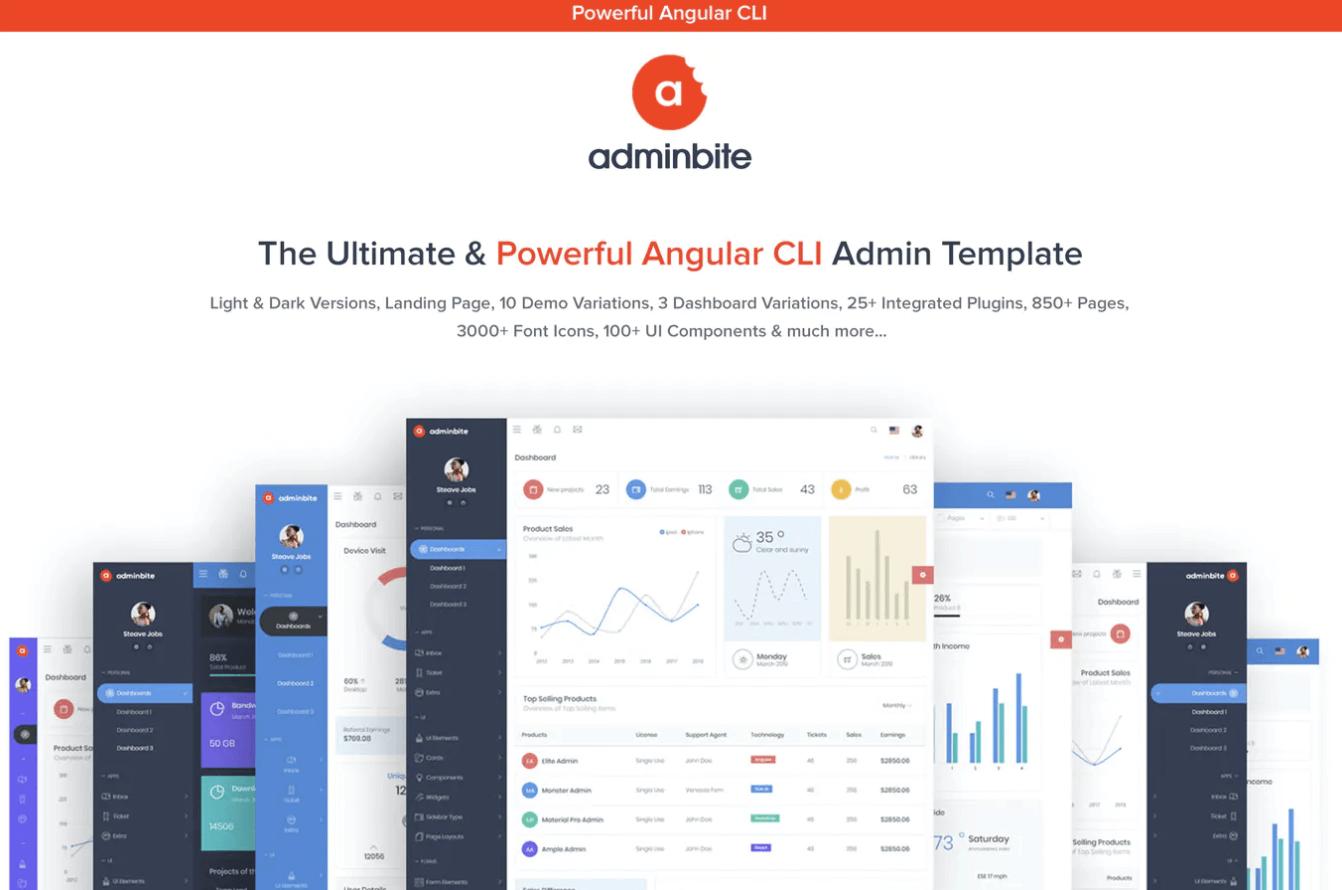 Adminbite Angular 9仪表板模板