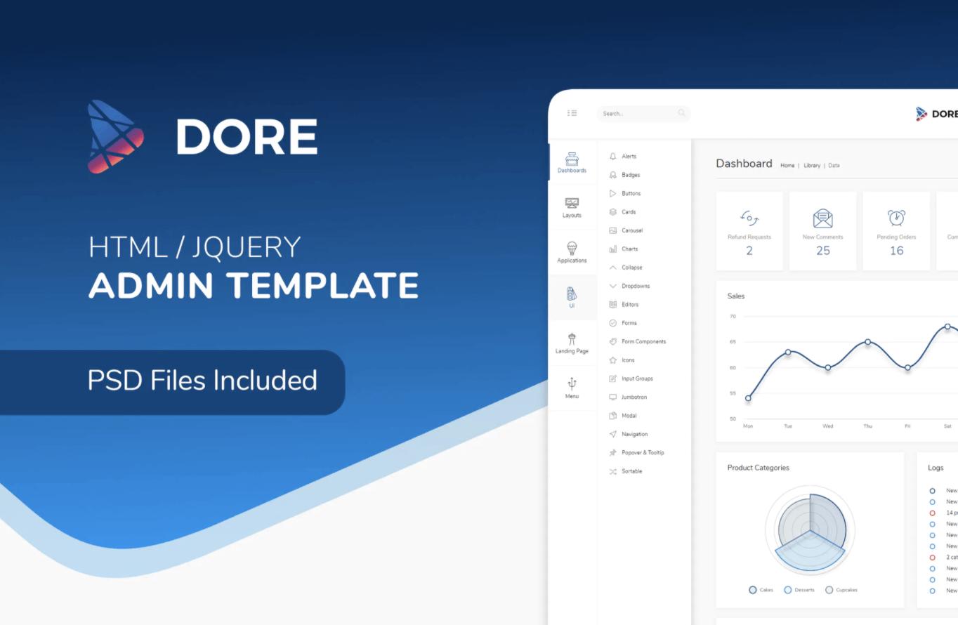 Dore-HTML jQuery Admin后台管理模板