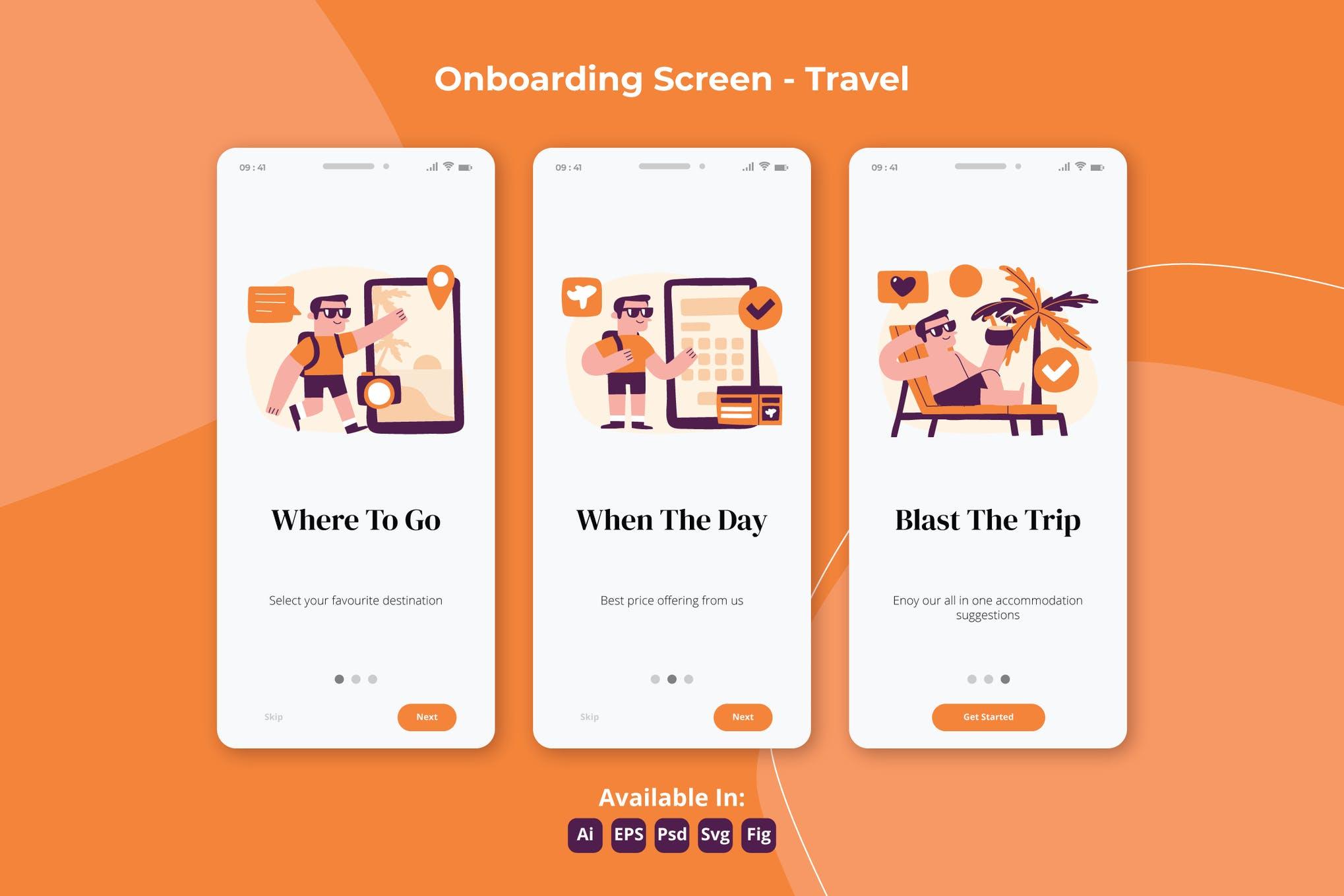 旅游和度假应用程序的插画引导页面