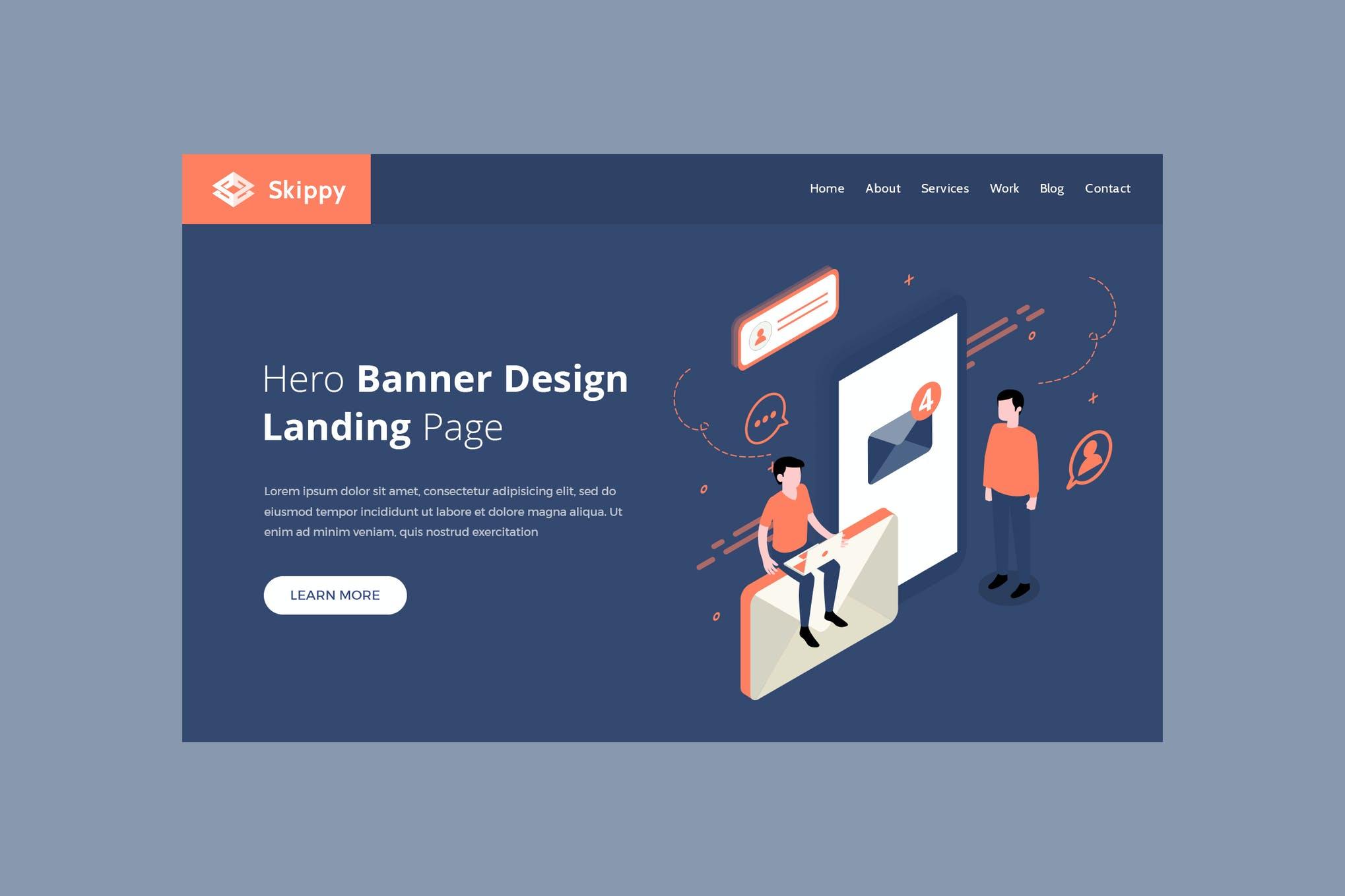 Skippy-英雄横幅模板 邮件人物插画banner