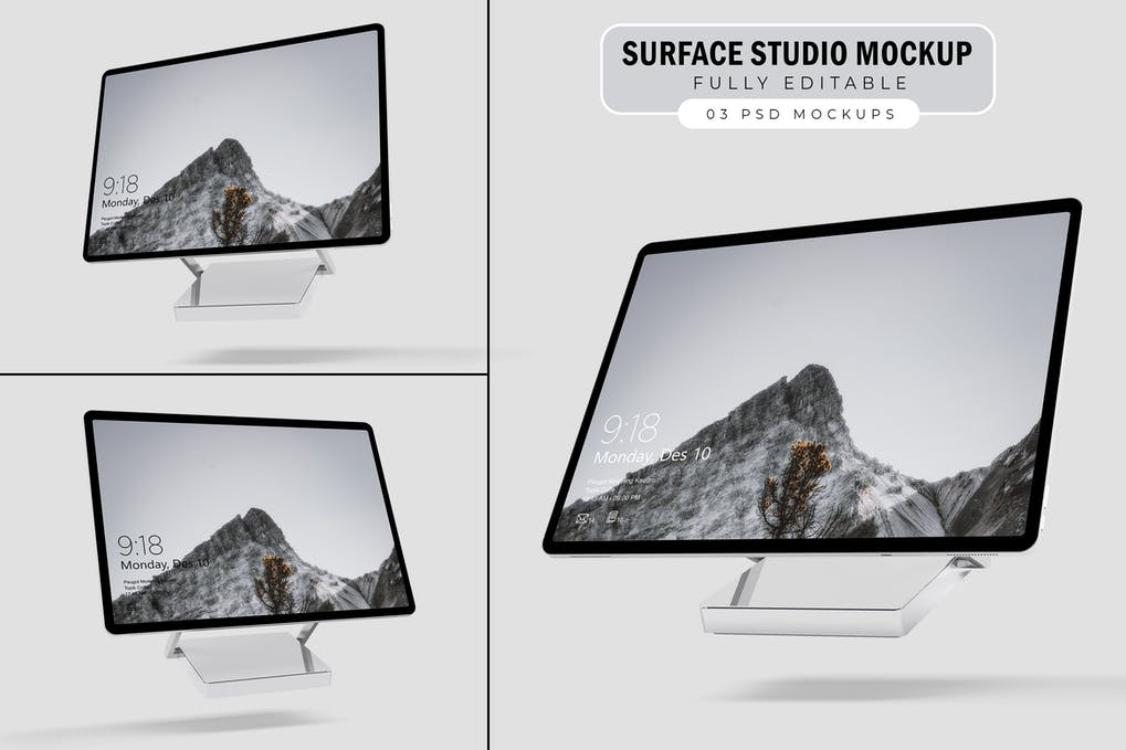 Surface Studio样机。V.1显示屏幕样机
