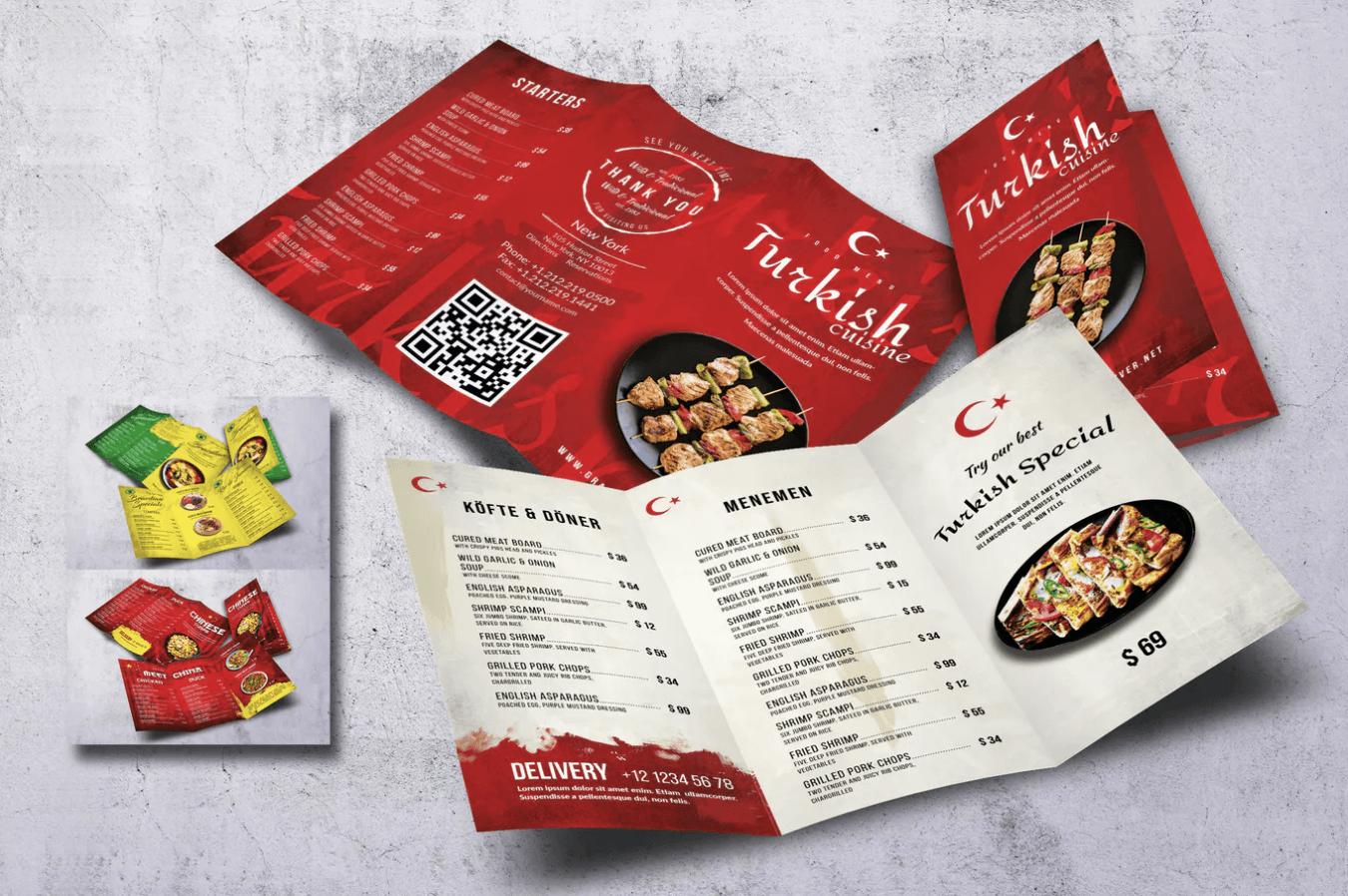 土尔其红色背景菜单设计模板