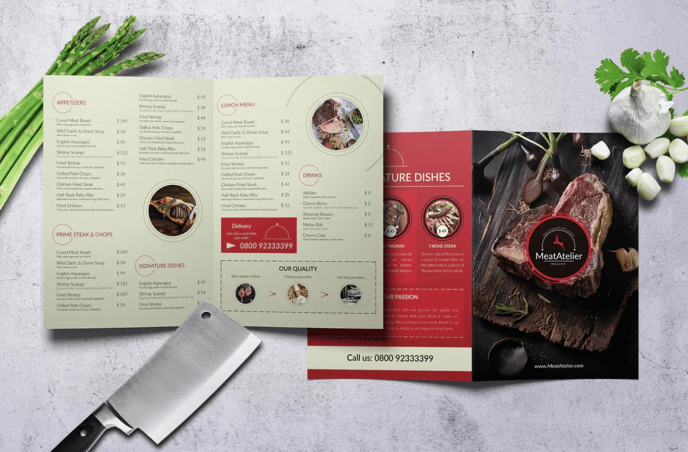肉品工坊Bifold A4和US Letter食品菜单