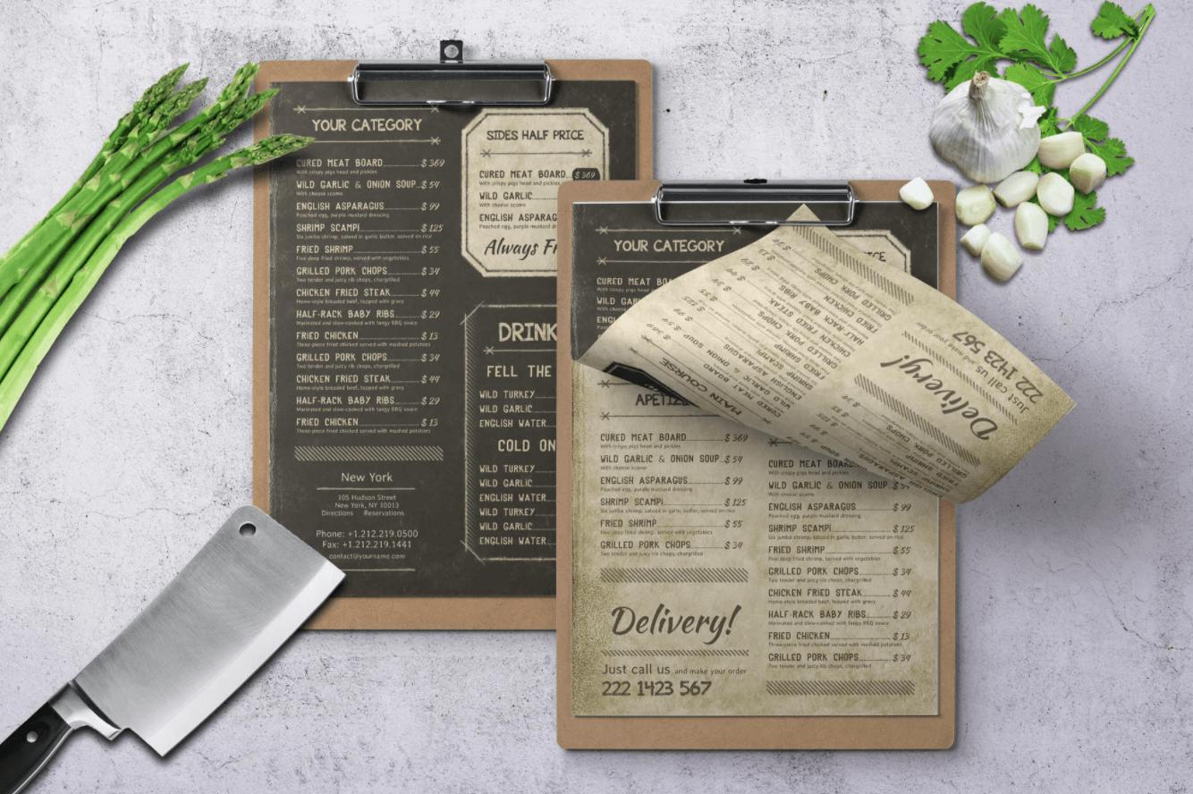 复古老式单页菜单A4纸