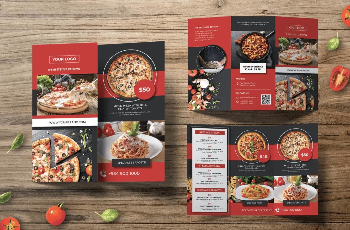 披萨三折页小册子宣传手册模板