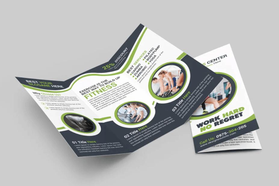 健身三析页小册子宣传手册模板