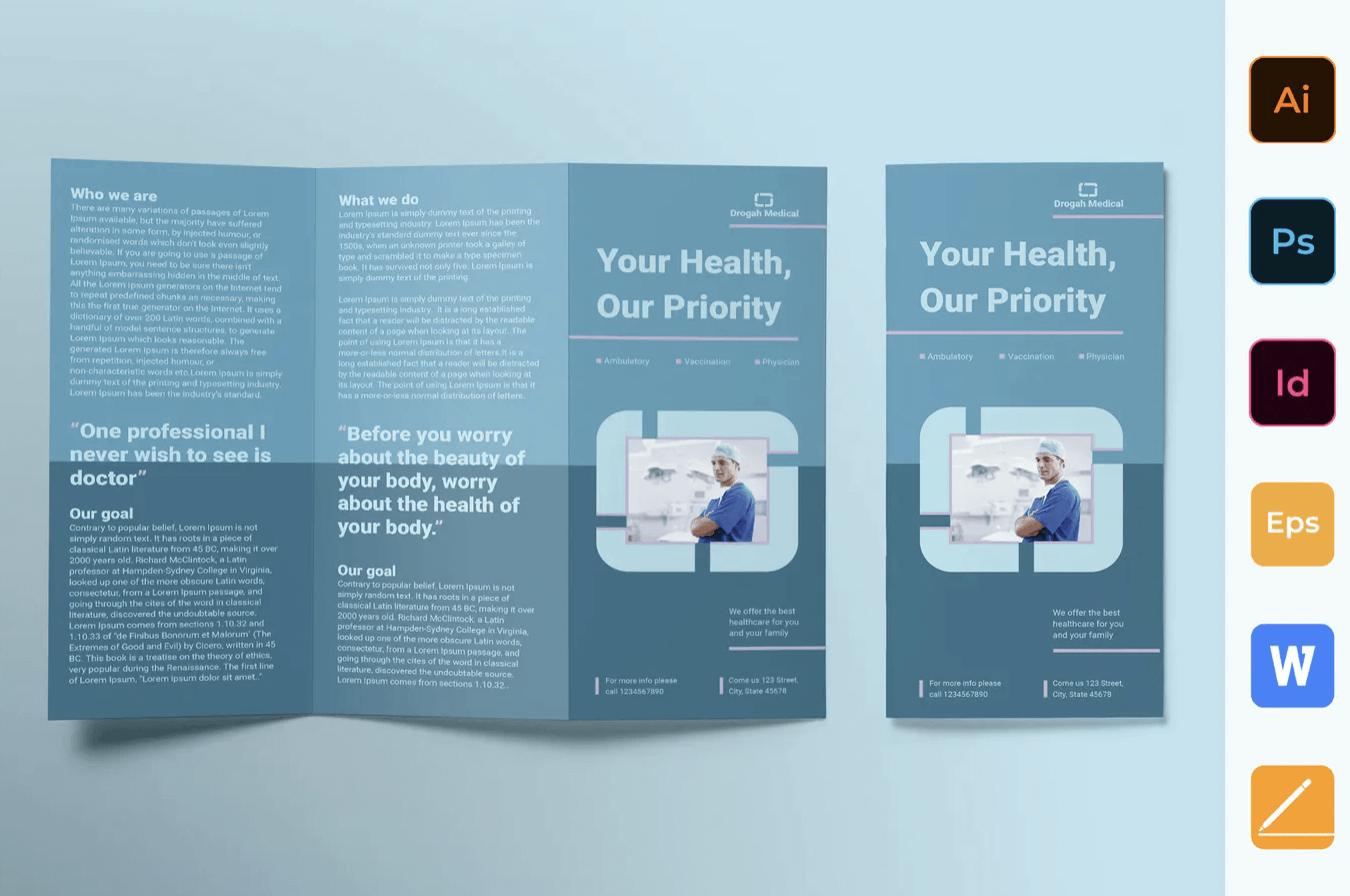 诊所宣传手册三折页模板