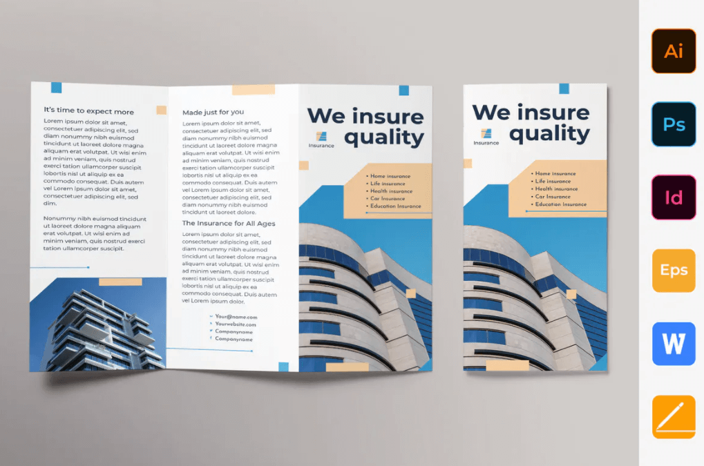 保险公司宣传手册三折页模板
