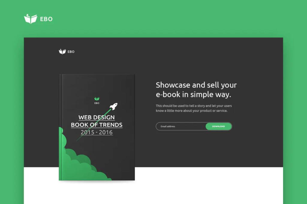 Ebo-电子书登陆页面网页HTML模板