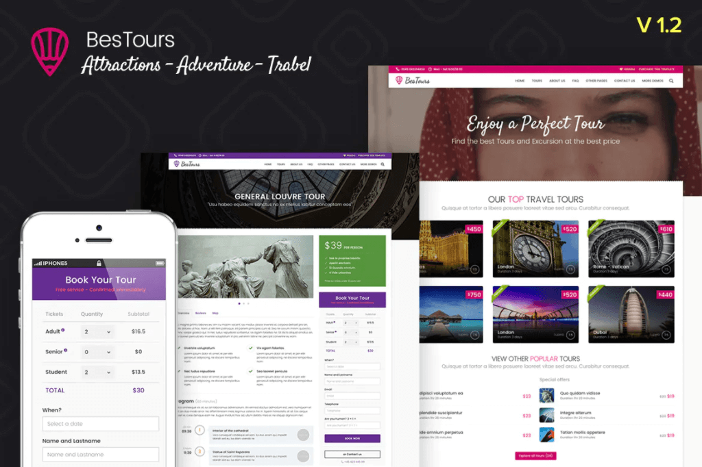 Bestours-观光,游览和旅行网站前端html模板
