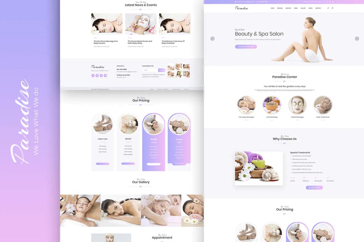 天堂-美容护肤多用途响应式网站HTML模板