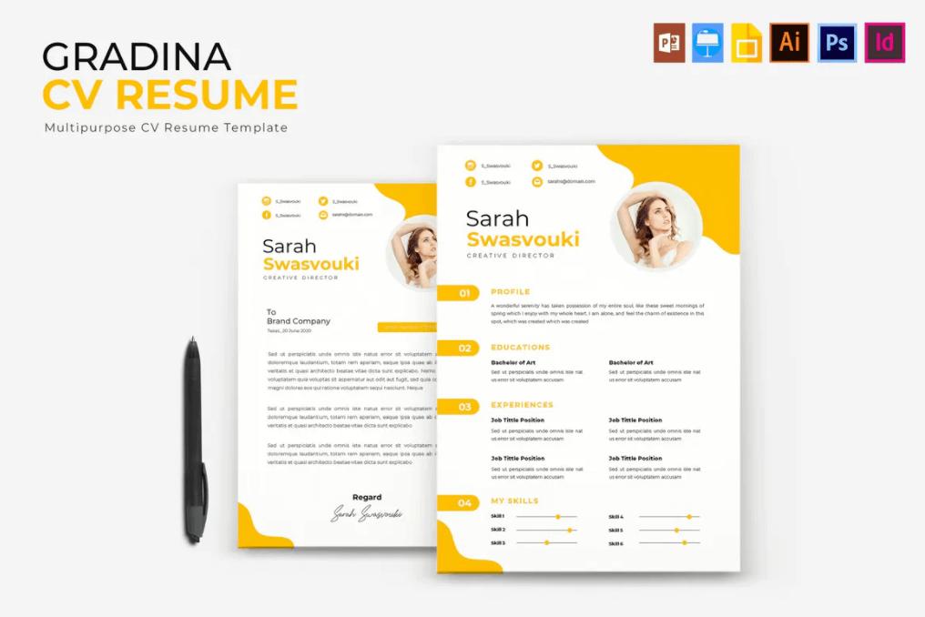 Gradina | 黄色多种格式源文件简历模板下载