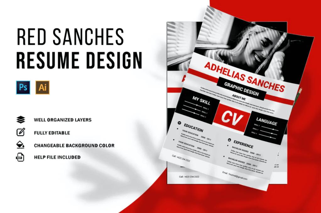 红色桑切斯| 简历极具设计感的简历模板
