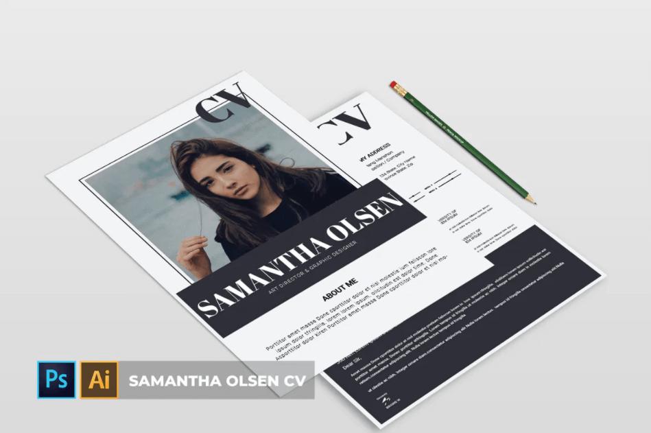 萨曼莎·奥尔森| 黑白简约PSD简历模板