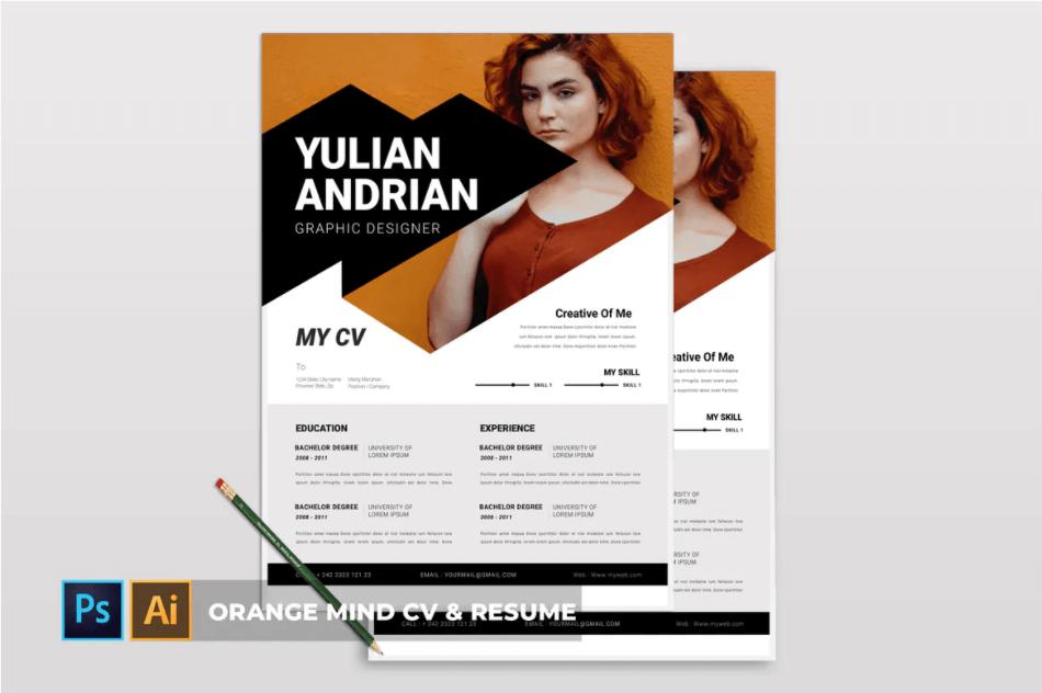 橙色| 个人封面可编辑简历模板下载