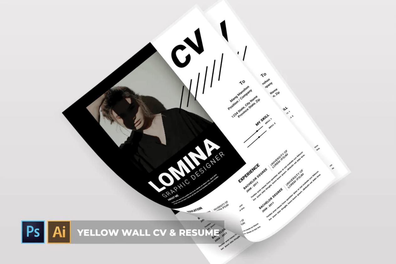 Lomina | 简历黑白求职面试简历模板下载