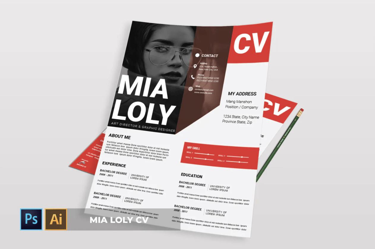 Mia Loly | 简历红色求职面试简历模板下载