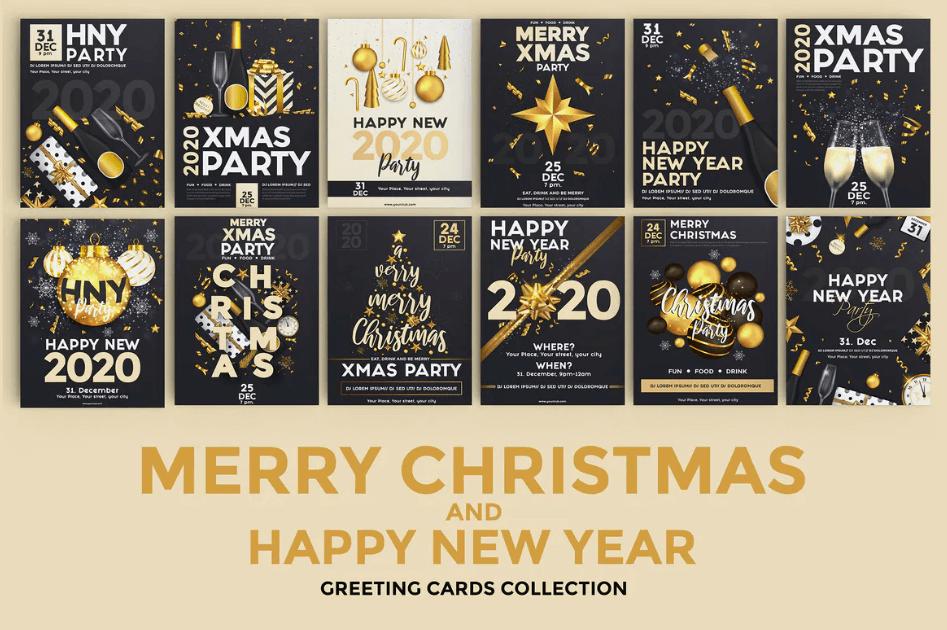 16套圣诞节和新年快乐聚会传单海报