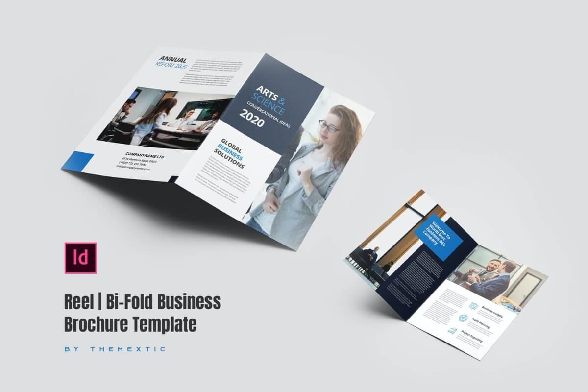 卷盘  双向业务宣传册模板双折页下载
