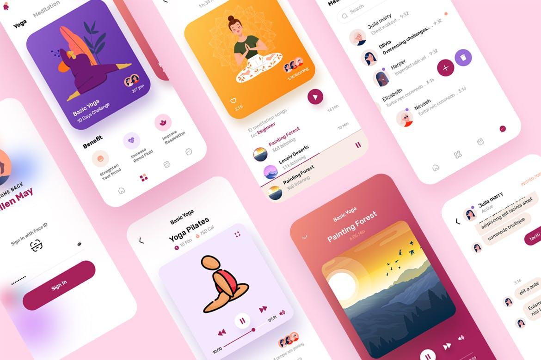 五月-Yoga&Meditation Mobile App模板下载漂亮的颜色UI模板