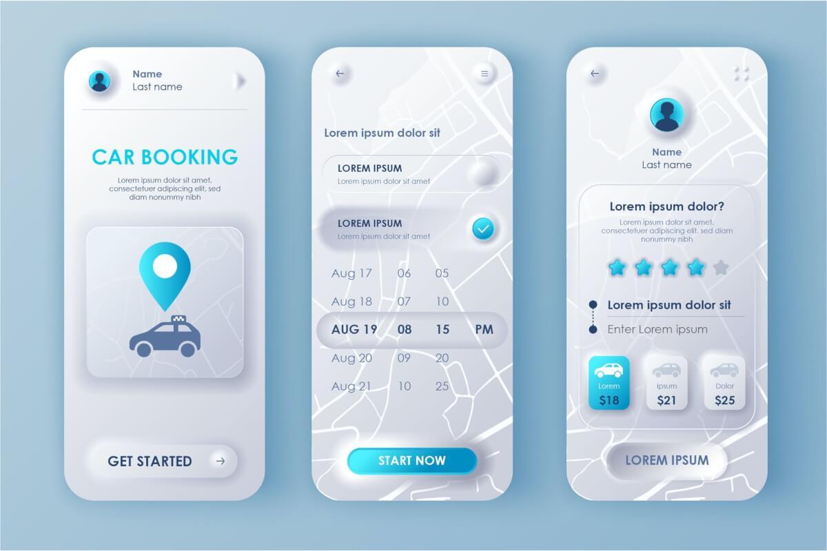 租车Neumorphic移动应用程序UI套件拟物风格