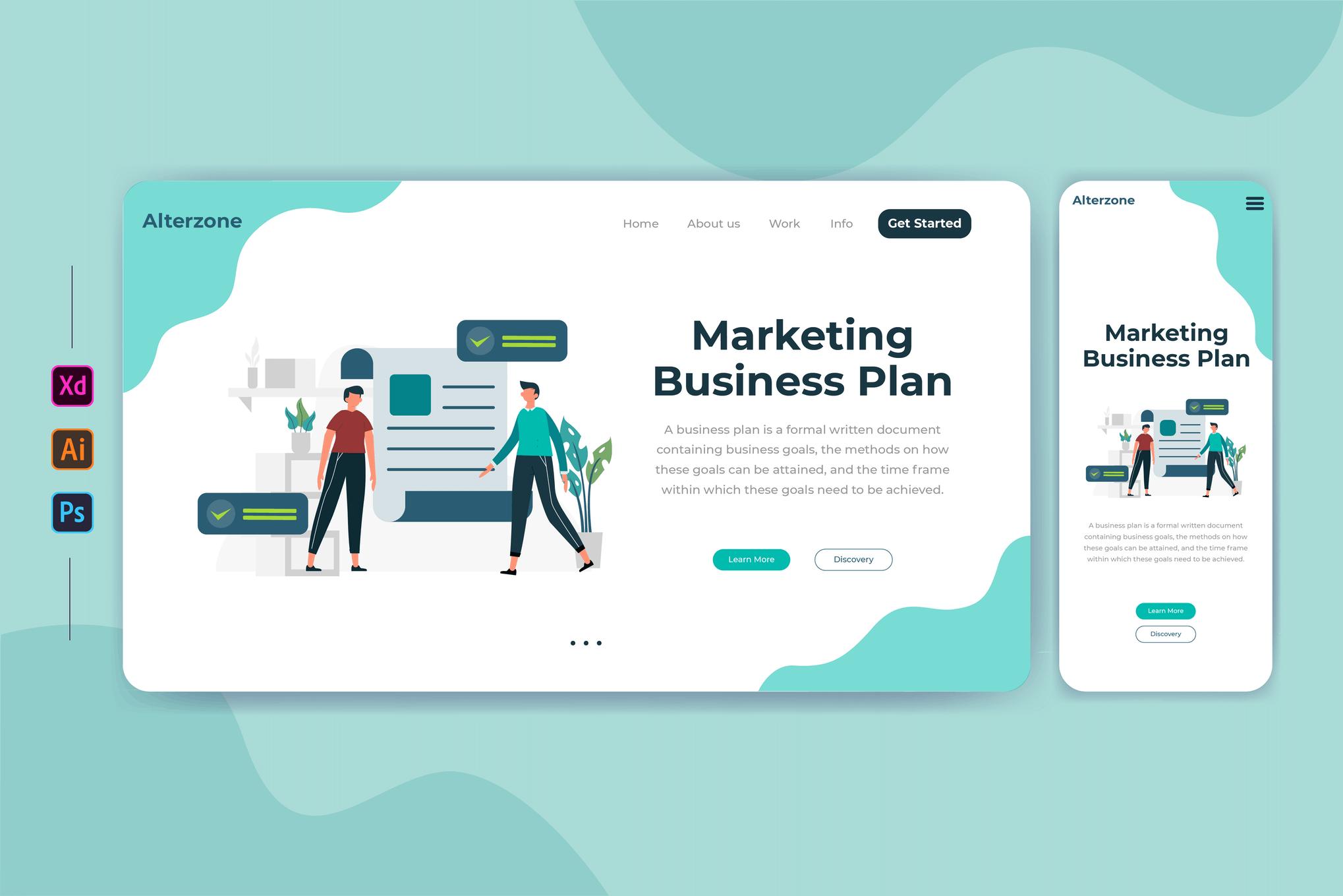 营销业务计划 网页banner插图ui模板素材下载