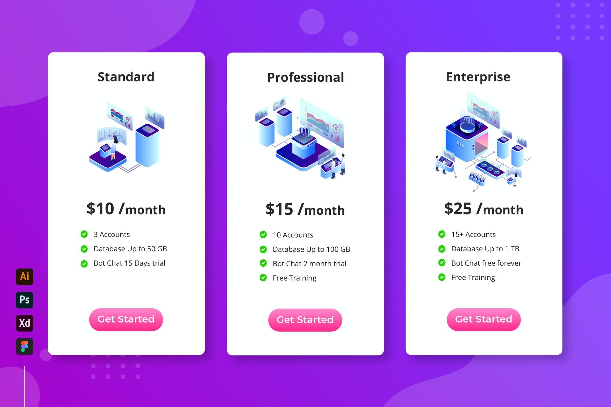 云数据库-等距定价表app模板素材插画引导页面下载