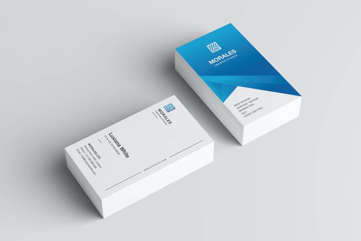 蓝色商务设计名片模板下载
