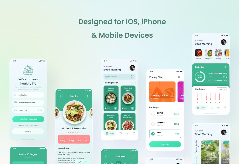 Vegeat-健康食品iOS App设计Figma和PSD 绿色食品APP UI素材下载