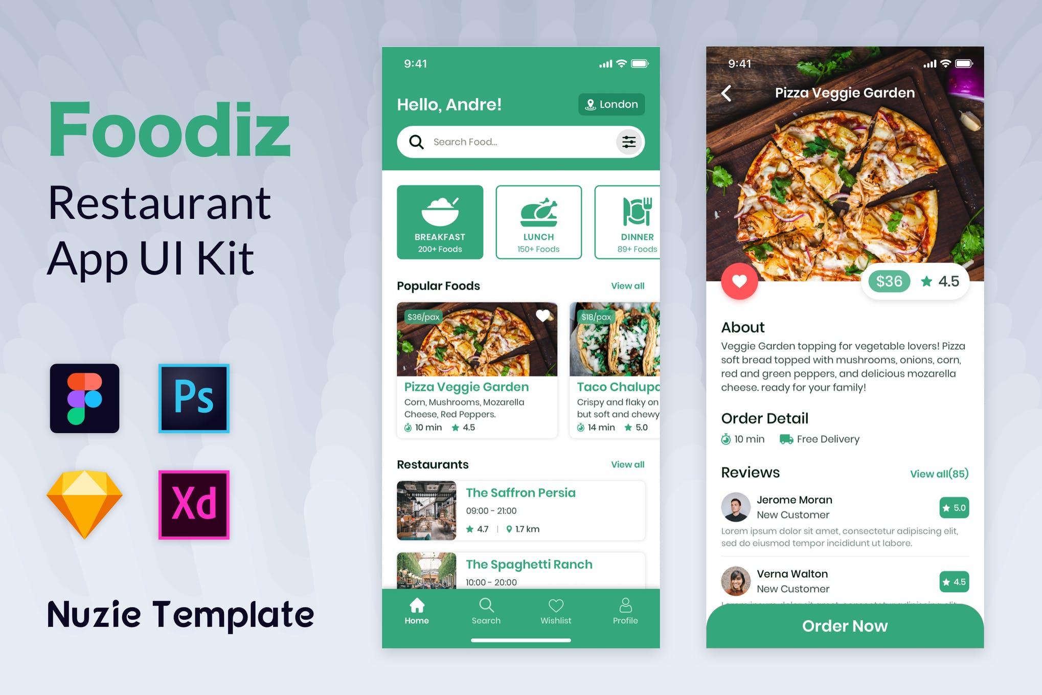 Nuzie-食品应用模板 ui模板素材下载